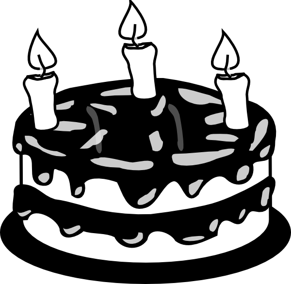 3yr Birthday Cake Bw Clip Art at Clker.com - vector clip ...