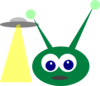 Green Alien With Ufo Clip Art
