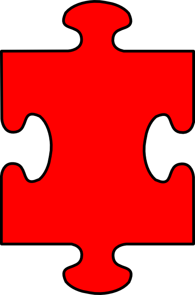 Puzzle Piece Red With Black Clip Art at Clker.com - vector ...