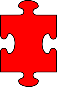 Puzzle Piece Red With Black Clip Art