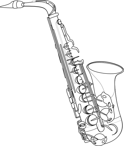 tenor saxophone colouring pages