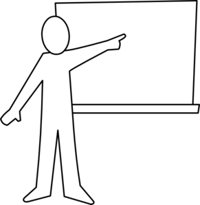 Teacher Pointing At Board Outline Clip Art