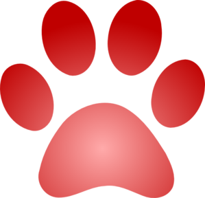 Red Paw Print With Gradient Clip Art