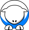 Sheep - White On Bright Blue No Eyeballs  Clip Art
