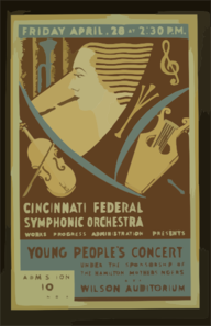 Cincinnati Federal Symphonic Orchestra, Works Progress Administration Presents Young People S Concert Under The Sponsorship Of The Hamilton Mothersingers At The Wilson Auditorium Clip Art
