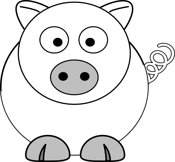 clipart pig black and white - photo #48