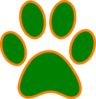 Green Orange Paw Print Clip Art