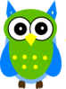 Green And Blue Owl Clip Art