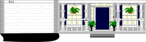 Front Porch Windows With Plants And Numbers Clip Art