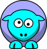 Sheep 2 Toned Blues Looking Crossed-eyed Clip Art