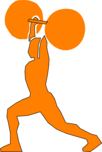 Orange Weightlifter Clip Art