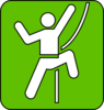 Rock Climbing Symbol Green Clip Art