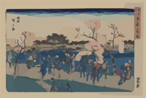 Viewing Cherry Blossoms Along The Sumida River. Clip Art