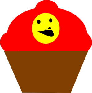 Cupcake Redbrown Smiling Face Clip Art