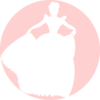 White Princess Silhouette In Pink Background Clip Art