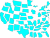Turquoise U.s. Map Separated Clip Art