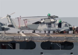 Airmen From Usns Niagara Falls (t-afs-3) Are Seen Conducting Maintenance On Top Of An Sh-60s Seahawk During A Recent Underway Replenishment With Uss Blue Ridge (lcc 19). Clip Art