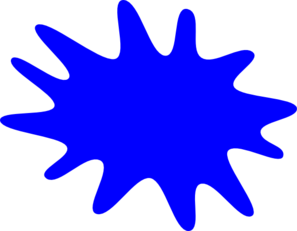 12 Finger Blue Paint Splatter Clip Art