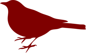 Bird Silhouette Small Red Clip Art