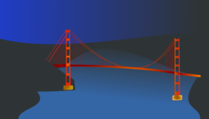 Golden Gate Bridge By Night Clip Art