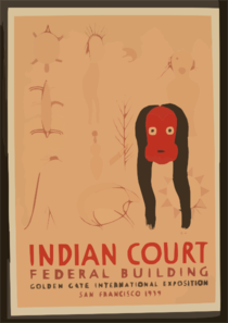 Indian Court, Federal Building, Golden Gate International Exposition, San Francisco, 1939 Chippewa Picture Writing, Seneca Mask, Eastern Woodlands / Siegriest. Clip Art