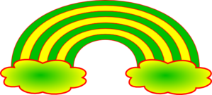 Rainbow With 2 Clouds Clip Art