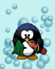 Swimming Penguin With Bubbles Clip Art