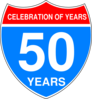 Interstate 50th Anniversary Sign Clip Art