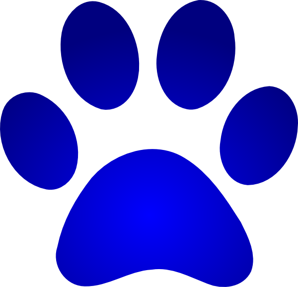 blue paw print with gradient clip art at clkercom