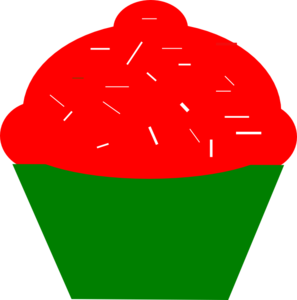 Cupcakered And Green Clip Art