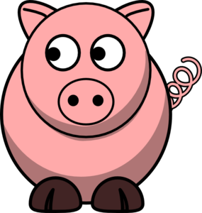 Pig Looking Left Clip Art