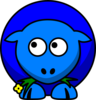 Sheep Blue Two Toned Looking Up To Left Clip Art