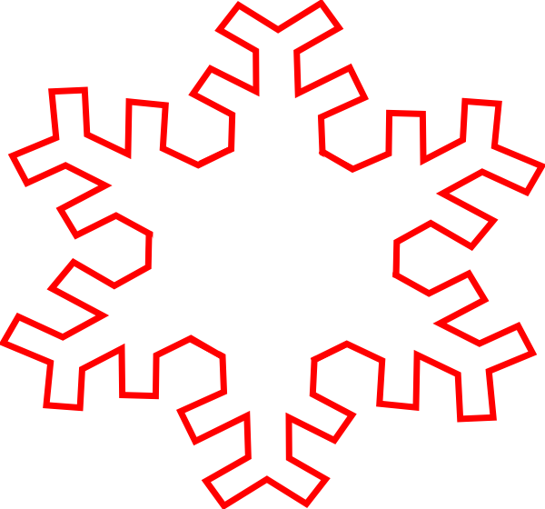 Red Snowflake Outline Clip Art at Clker.com - vector clip art online ...