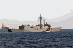 Assisted By Harbor Tug Muskegon (ytb 763), The Guided Missile Frigate Uss Gary (ffg 51) Leaves The Port Of Yokosuka, Japan. Clip Art
