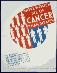 More Women Die Of Cancer Than Do Men 70 Percent Of The 35,000 Women Who Die Annually Of Cancer Of The Breast And Uterus Could Be Saved If Treated In Time. Clip Art