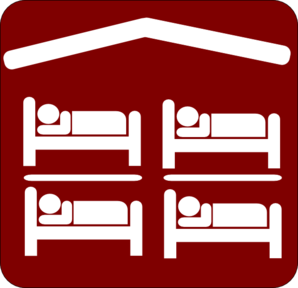 Hut Hostel Cheap Inexpensive Sleeping Accomodation Clip Art - Red/white Clip Art