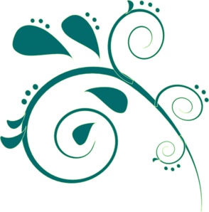 Teal Paisley Clip Art