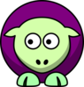 Sheep 2 Toned Green And Purple Looking Left Clip Art