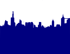 Dark Blue City Skyline 2 Clip Art