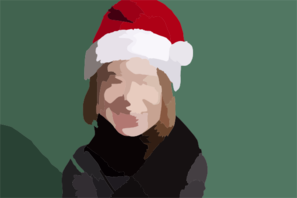 Girl With Santa Hat Large For Clip Art