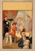 [hypnotist Directing Group Of People To Do Unusual Things: Woman Riding Man, Man Playing Broom Like A Guitar, Two Men Embracing] Clip Art