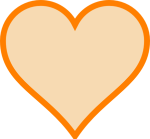 Solid Orange Heart Clip Art