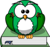 Owl2 On The Book Clip Art