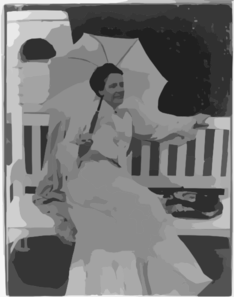 [mrs. Edith Kermit Carow Roosevelt, Three-quarters Length Portrait, Holding A Parasol While Sitting On A Bench] Clip Art
