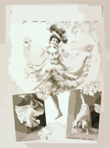 [woman Dancing In Two Scenes, Performing Acrobatics In Third] Clip Art