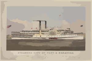 Steamers City Of Troy & Saratoga Clip Art