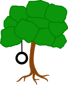 Tree Solid Color With Swing Clip Art