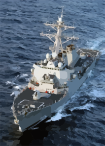 The Guided Missile Destroyer Uss Donald Cook Underway In The Mediterranean Sea. Clip Art