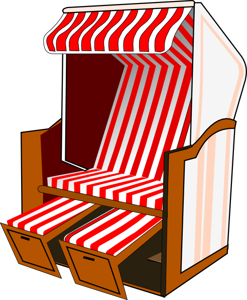 Strandkorb clipart  Beach Chair With Striped Awning Clip Art at Clker.com - vector ...