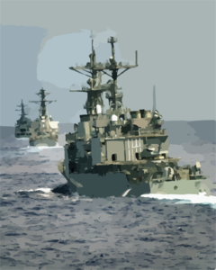 Enterprise Carrier Strike Group Ships, Uss Thorn (dd 988), Uss Cole (ddg 67), And The Uss Gonzalez (ddg 66), Perform Divisional Tactics While Underway In The Atlantic Ocean Clip Art